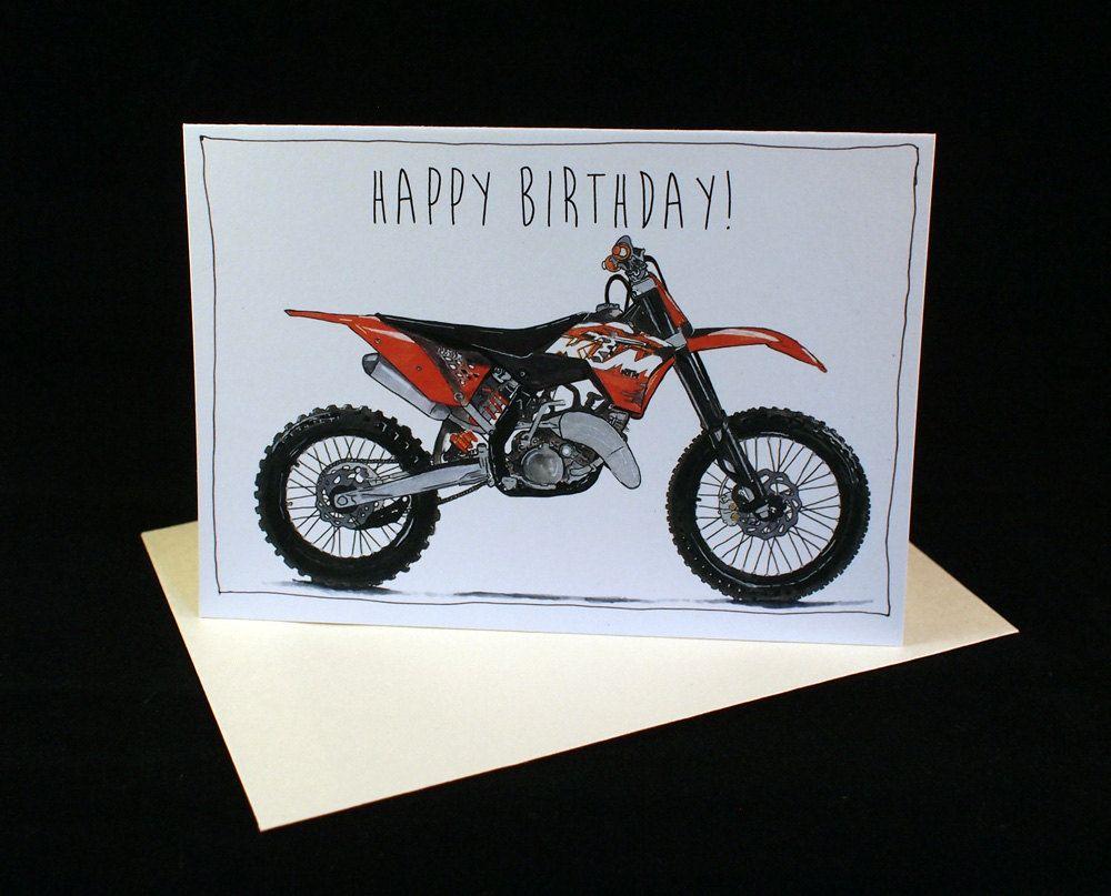 KTM 125SX Dirt Bike Birthday Card A6 6 x 4 103mm x 147mm