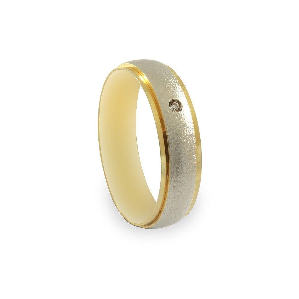 163f8da02d6 Imagem de  Aliança de Casamento em Ouro 18K e Ouro Branco c  Brilhante  (Unidade)