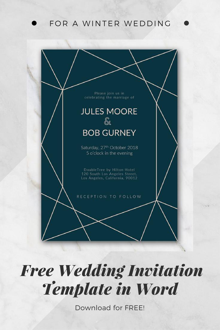 geometric winter wedding invitation template wedding pinterest