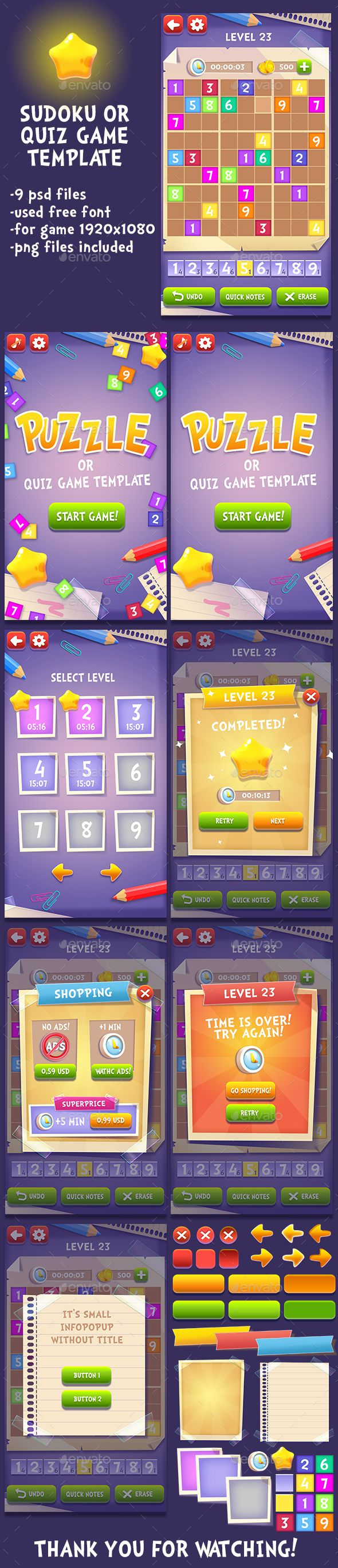 puzzle or quiz game template game kits game assets royalty free