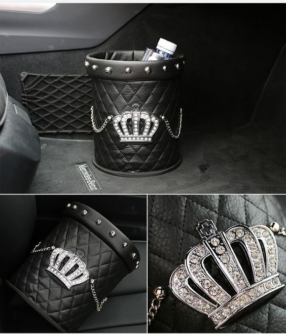 Bling Your Ride Black Crown Leather Rhinestone Water Resistant Car Trash Can Car Bling Trash Can For Car Girly Car Accessories