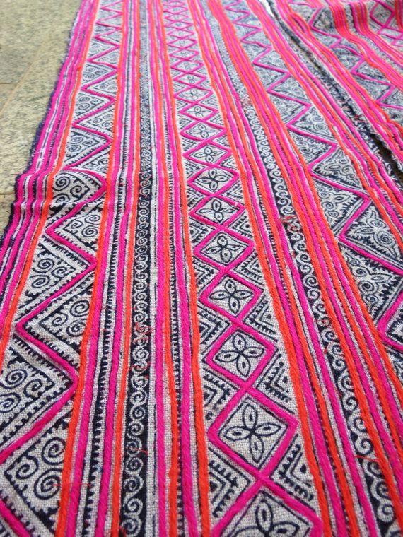 Canapa intrecciato batik tessuti Homespun Vintage di dellshop
