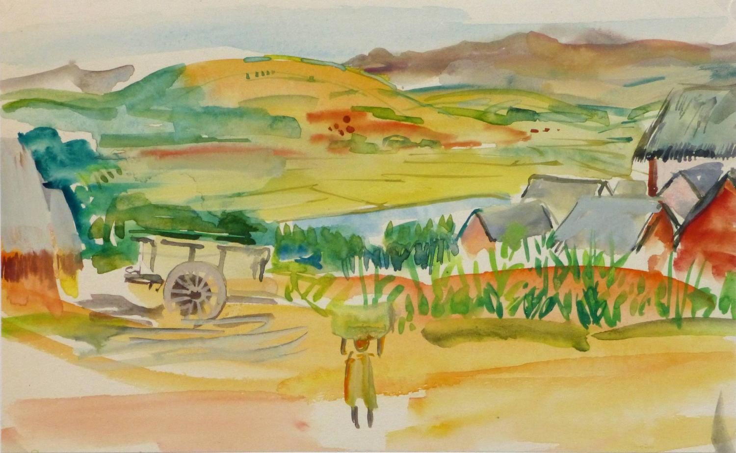 Vintage Watercolor Landscape Fields Of Madagascar From A