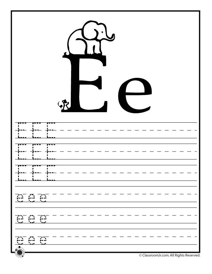 Learning ABC's Worksheets Learn Letter E   Classroom Jr ...