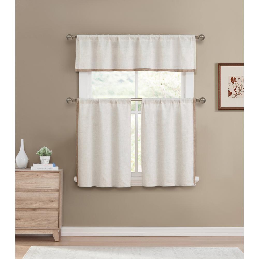 Home Maison Koti Linen Wheat Kitchen Curtain Set 58 In W X 15 In L 3 Piece Kitchen Curtains Kitchen Curtain Sets White Kitchen Curtains