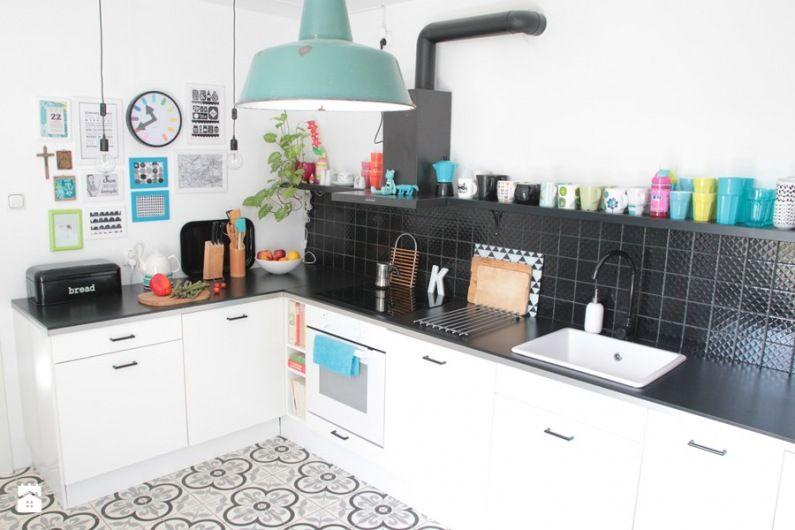 Turkusowa lampa w czarno \u2013 białej kuchni - Lovingitpl Kitchen