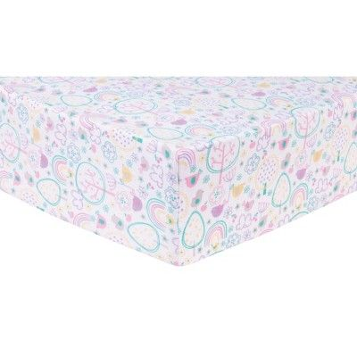 Trend Lab Deluxe Flannel Crib Sheet Rainbow Birds White