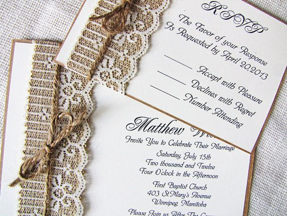 Items Similar To Rustic Lace Wedding Invitation, Burlap Wedding Invitation, Lace  Wedding Invitation Suite. Shabby Chic. Handmade. Country. On Etsy