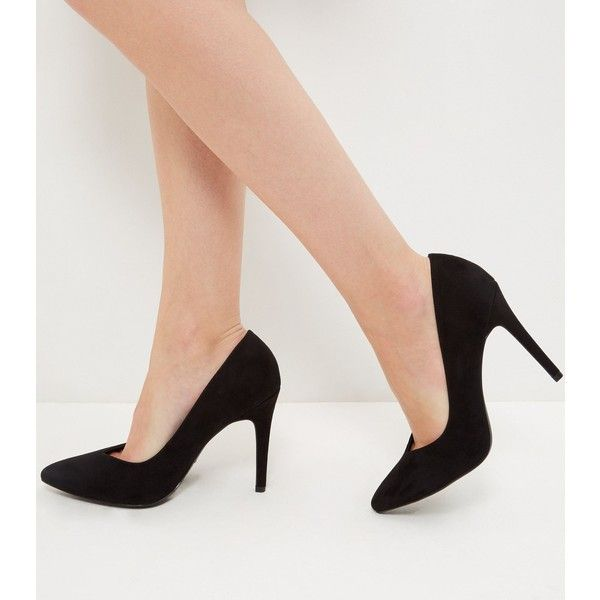 8058f5d5b52a New Look Wide Fit Black Suedette V Throat Pointed Heels ( 25) ❤ liked on Polyvore  featuring shoes