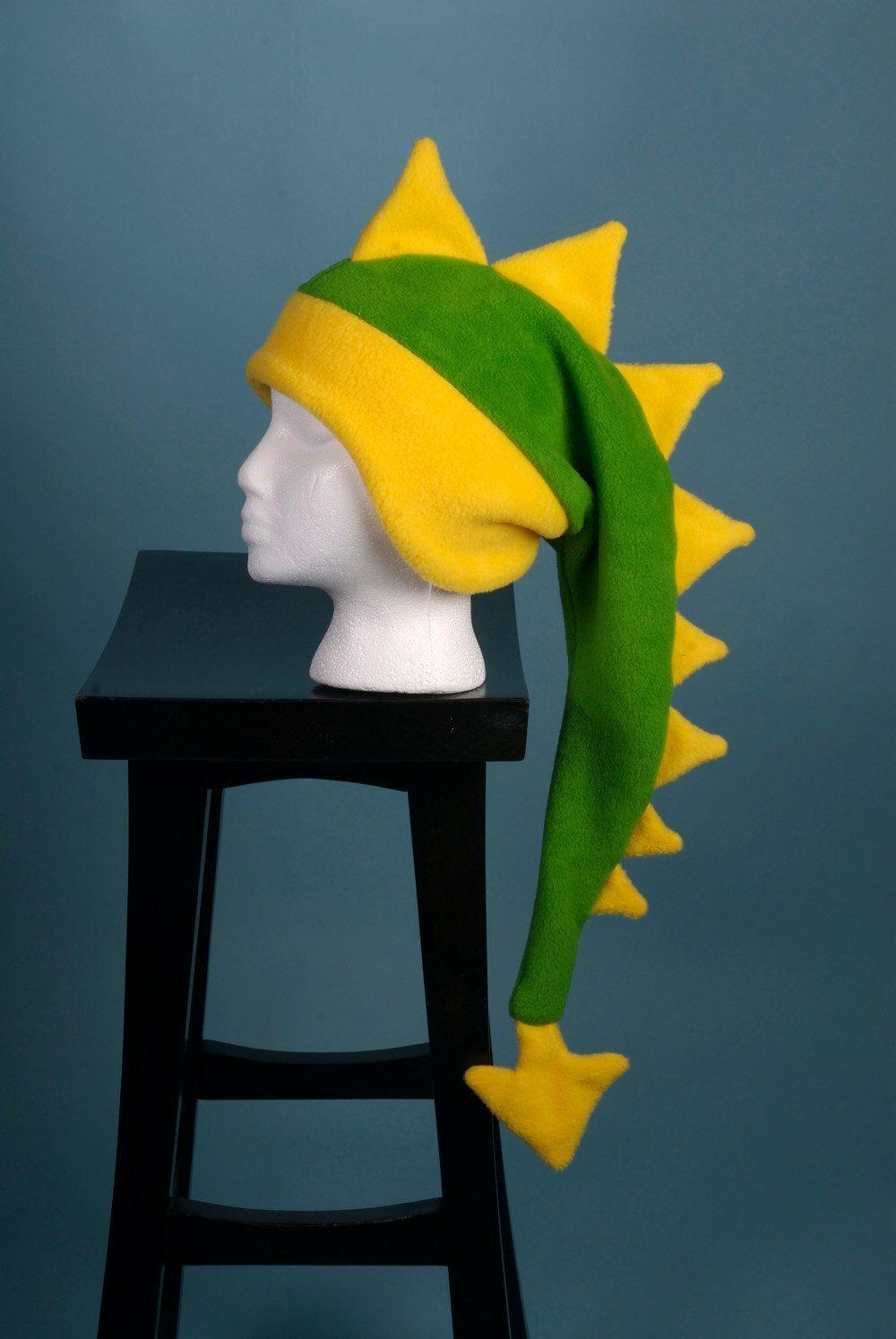 da29881ea56 Fleece Dragon Hat - Lime Green   Yellow Dinosaur by Ningen Headwear ...