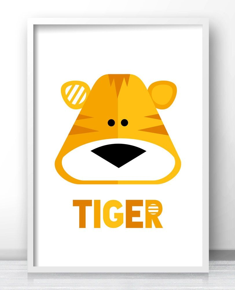 Tiger Kids Room Wall Art, Kids Printables, Animal Kids Room Decor ...