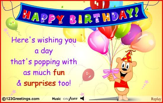 Popping A Surprise Free For Kids eCards Greeting Cards – E Birthday Cards for Children