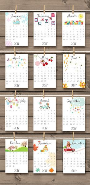 Printable  Calendar  Wall Calendar Door Anietillustration