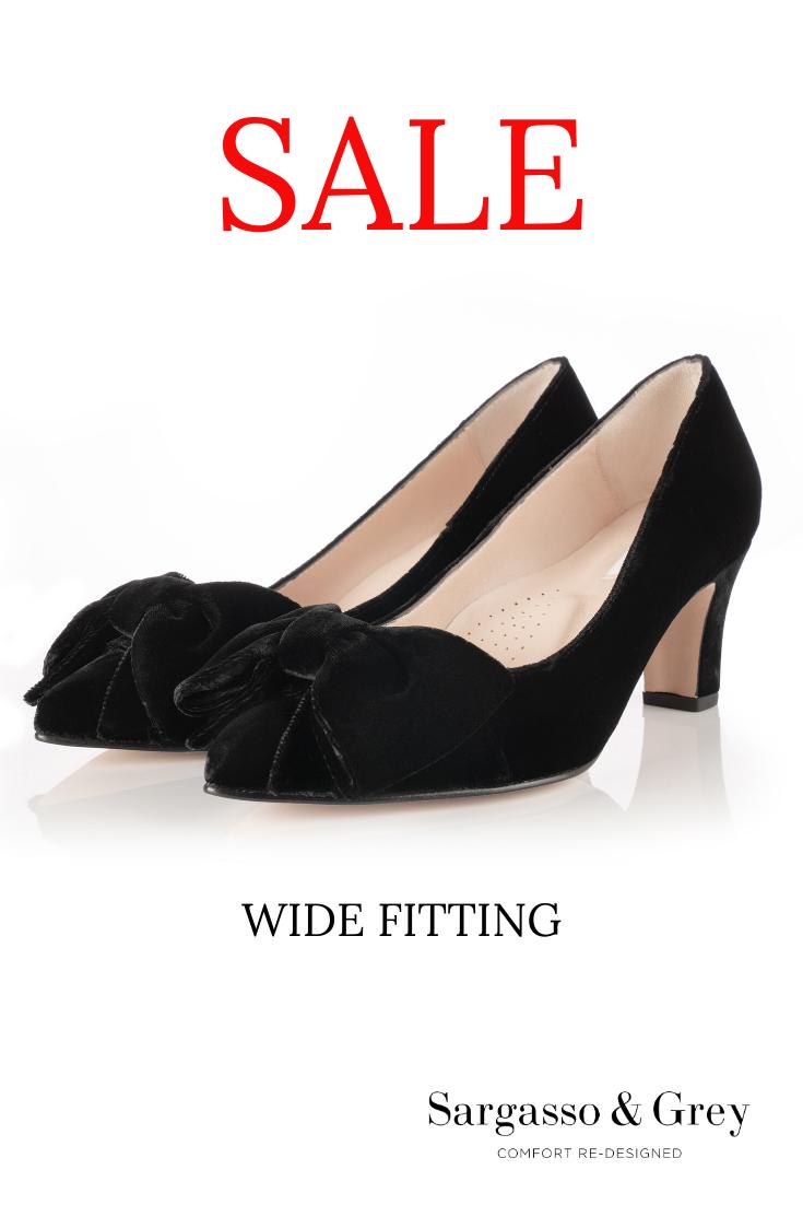 Wide Fit Black Velvet Court Shoes in