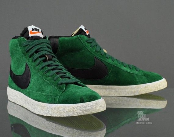 nike blazer green mid suede trainers