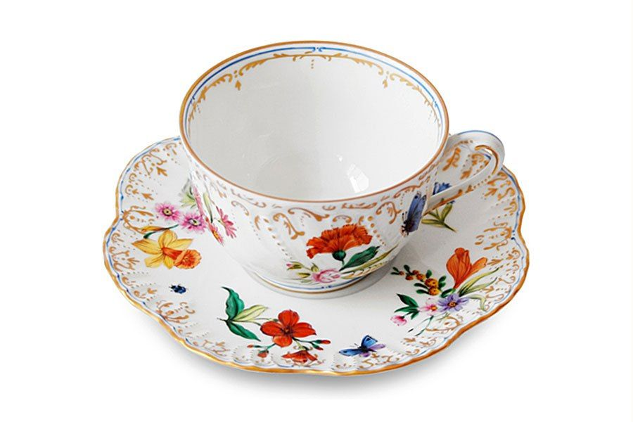 Belles Saisons porcelain teacup-and-saucer set by Alberto Pinto; $447. pintoparis.com