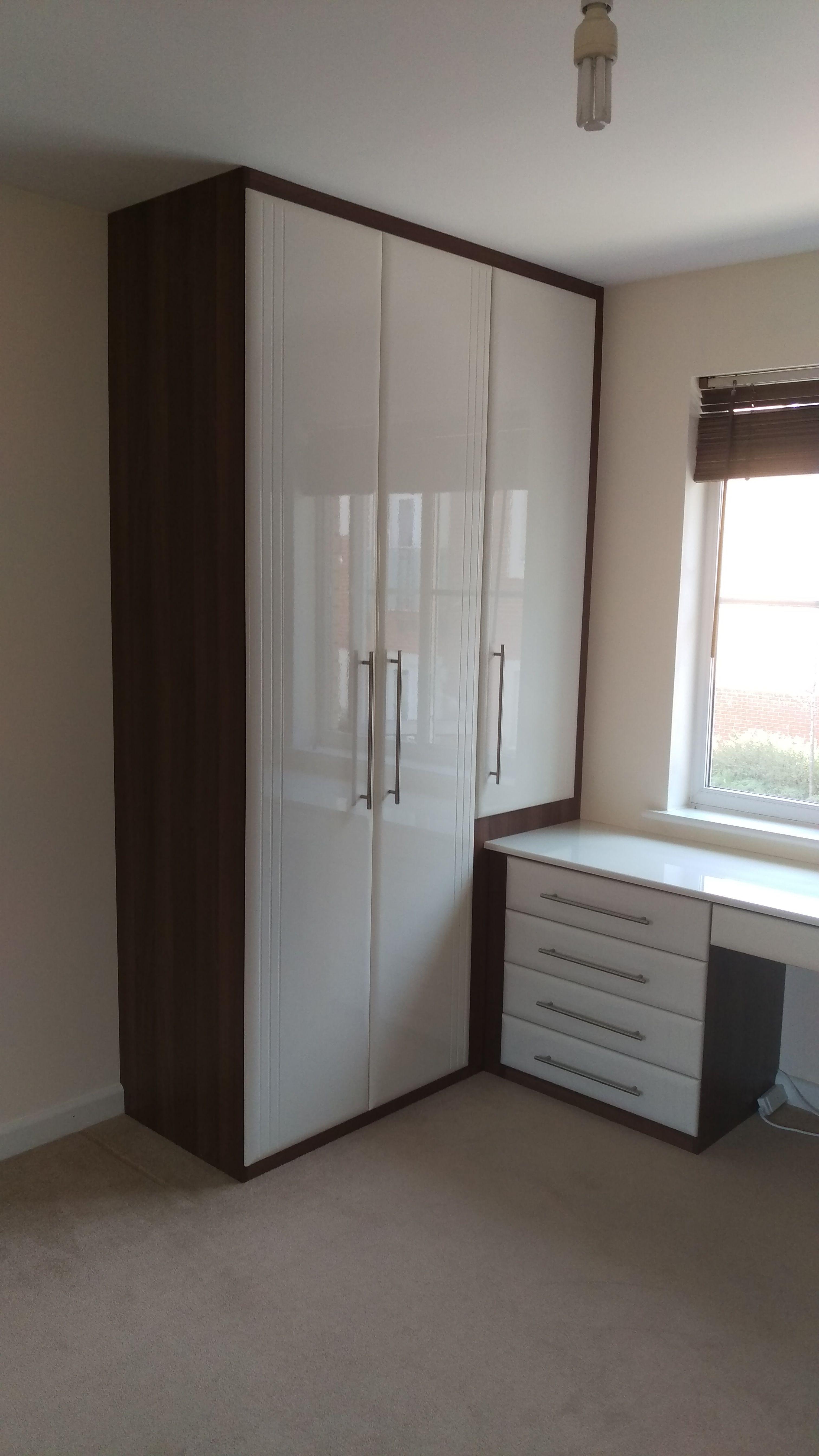 3 Door wardrobe with 3 4 height door over matching dressing table  Dark  Walnut. 3 Door wardrobe with 3 4 height door over matching dressing table