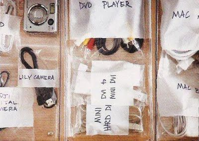 Use ziploc bags to organize cords