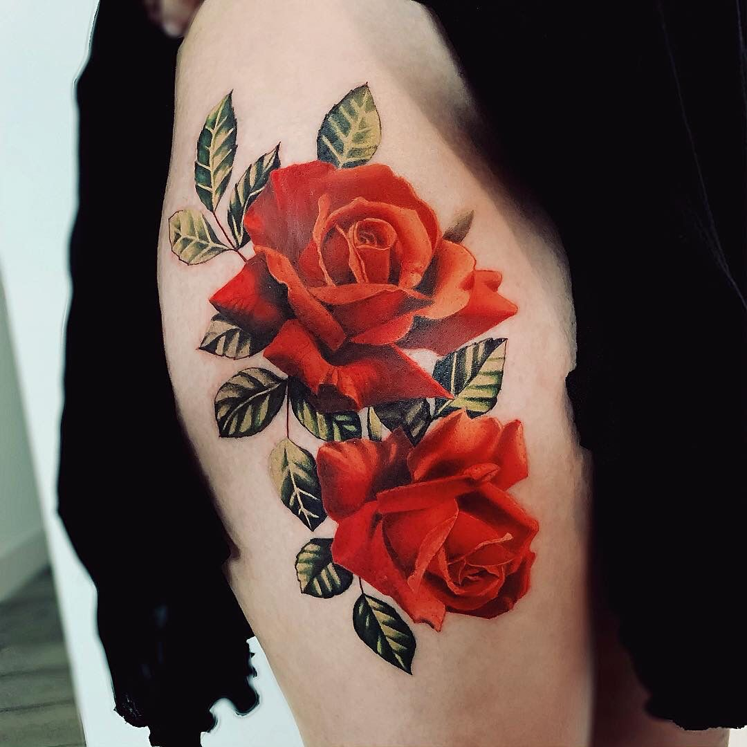 Red Roses Colorful Rose Tattoos Realistic Flower Tattoo Rose Tattoo Sleeve