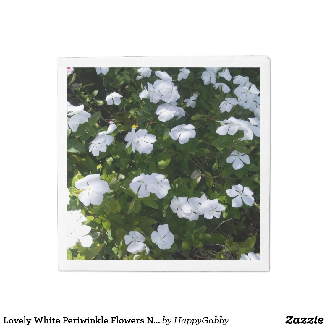Lovely White Periwinkle Flowers Napkins