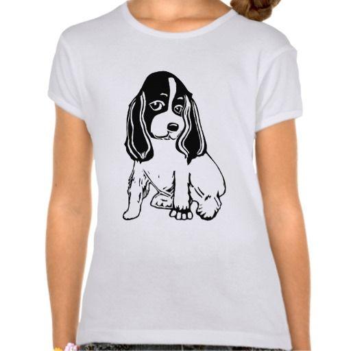 Black White Cocker Spaniel Girls' Babydoll T-Shirt; Abigail Davidson Art; ArtisanAbigail at Zazzle