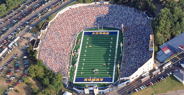 The Rubber Bowl Akron S Old Football Stadium The University Of Akron University Of Akron Football Stadiums
