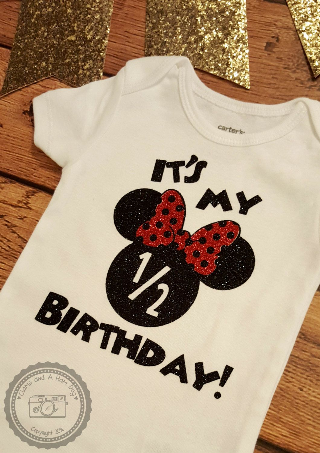 Glitter Minnie Mouse ONESIE Half Birthday Tshirt Baby Girl Shower Gift Funny Shirt For Toddler Infant 6 Month 022 By ClamsAndaHamDog On