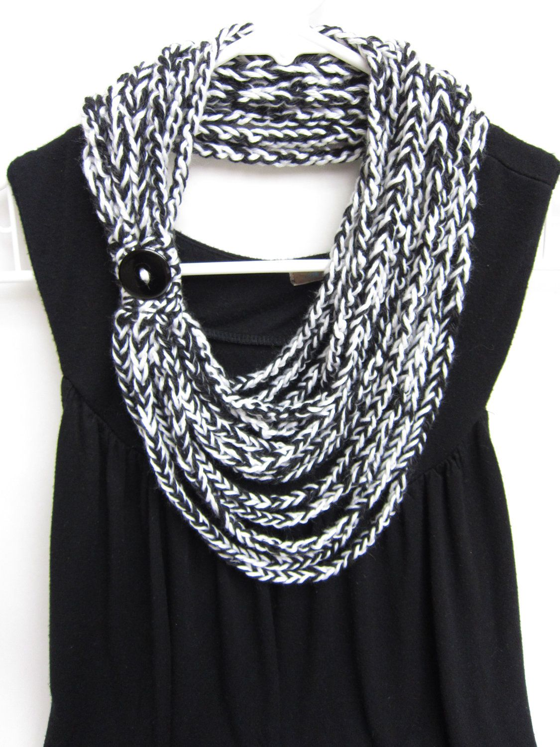 crochet chain scarf - necklace scarf - infinity scarf - black and ...