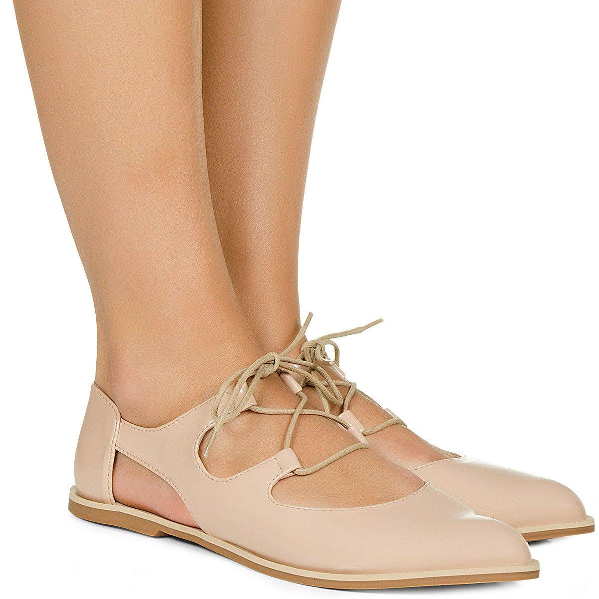 e7fd51ba9 Sapato Oxford Aberto Nude Verniz Taquilla Lojas De Calçados Femininos, Calçados  Femininos Online, Loja