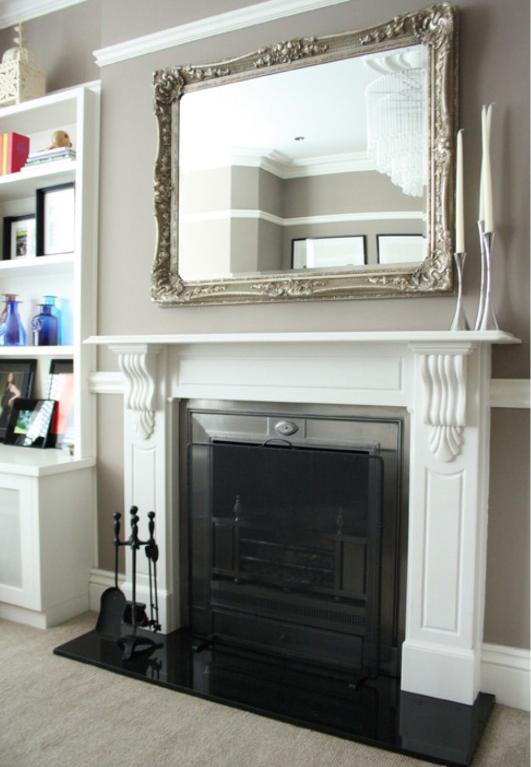 Mirror above mantle Fireplace mirrors Pinterest Mantle Living