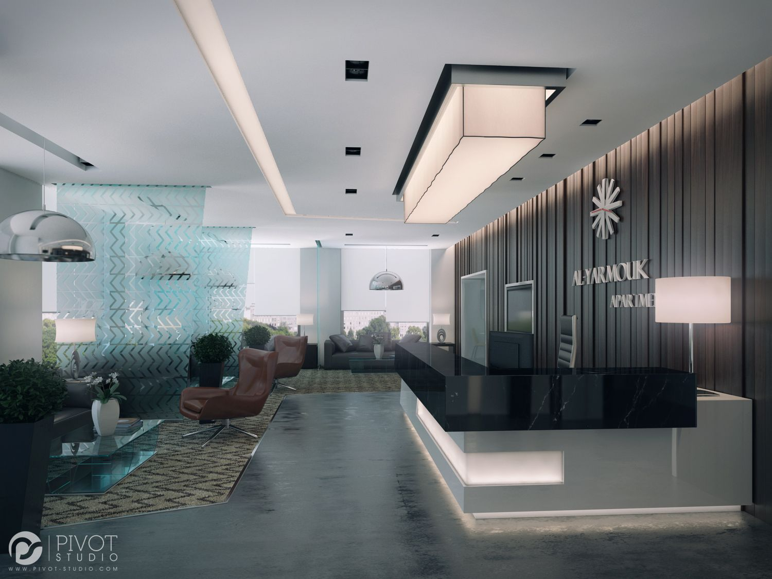 Interior design and 3D visuals of Apartments building reception located in  Al-Yarmouq area