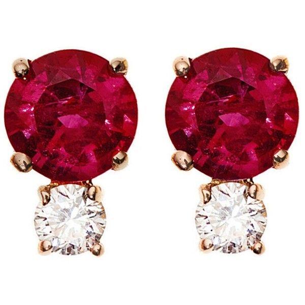 Jemma Wynne 18-karat Rose Gold, Ruby And Diamond Earring