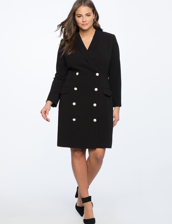 Pearl Button Blazer Dress | Women\'s Plus Size Dresses in 2019 | a la ...