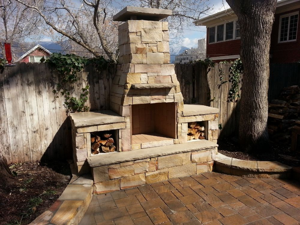 Outdoor Fireplaces Off Of Chimneys From