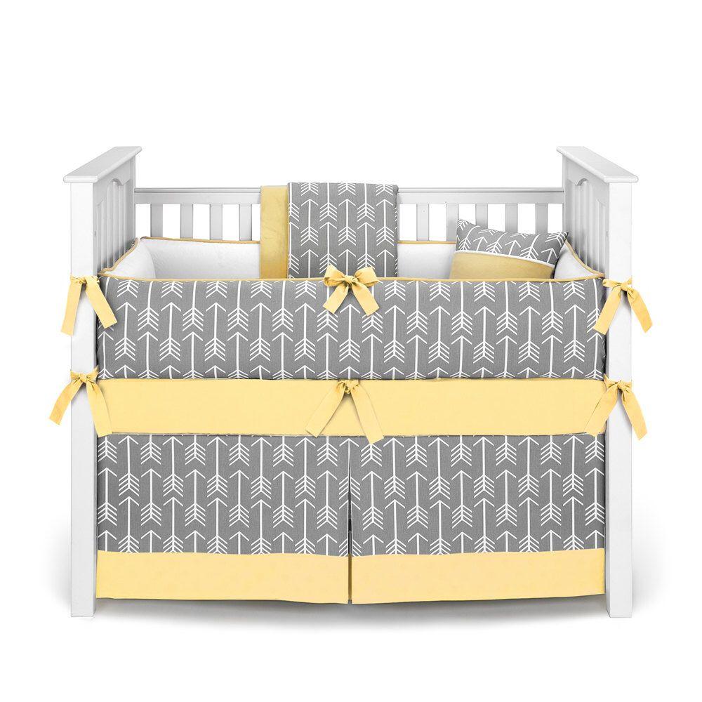 Baby crib yellow - Neutral Crib Bedding Boy Or Girl Baby Crib Bedding Arrows Gray Yellow Crib Bedding Set By Sofia Bedding
