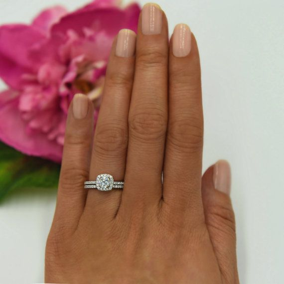 Photo of 3/4 ctw Classic Square Halo Bridal Set, Round Engagement Ring, Man Made Diamond Simulant, Half Eternity Wedding Band, Sterling Silver