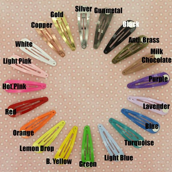 """Choose Your Color 24-2/"""" Colorful Hair Snap Clip Barrettes with Glue Pad"""