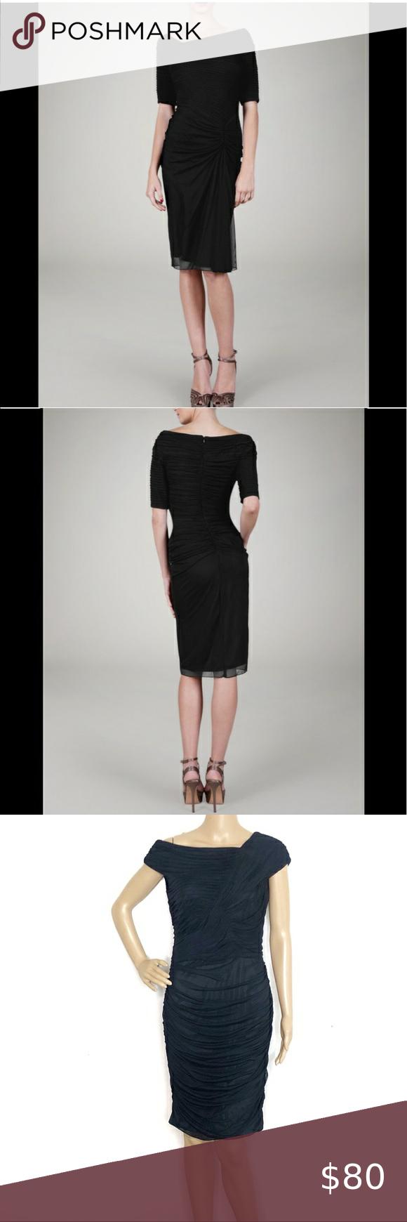 Tadashi Shoji Black Draped Ruched Black Dress Black Ruched Dress Off Shoulder Casual Dress Black Lace Cocktail Dress [ 1740 x 580 Pixel ]