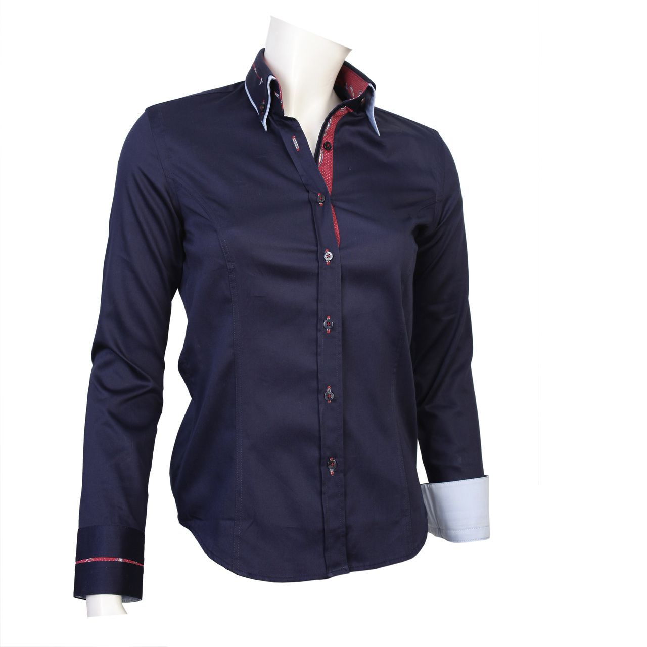 Tonelli Wholesale Double Collar Navy Blue Shirts For Ladies