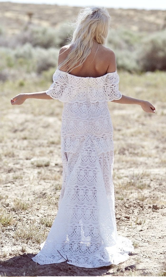 Bohemian wedding dress s hippie off the shoulder