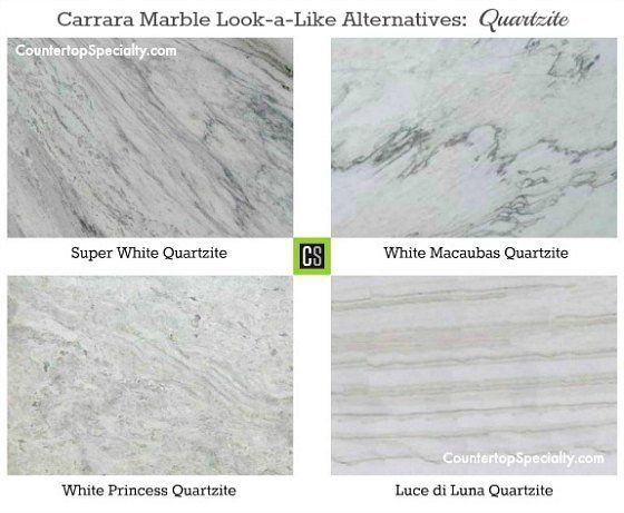 Elegant Four Quartzite Countertop Colors That Look Like Carrara Marble Collage.  Some Quartzite Etches Like Marble And Many Compare Its Durability To Granite .