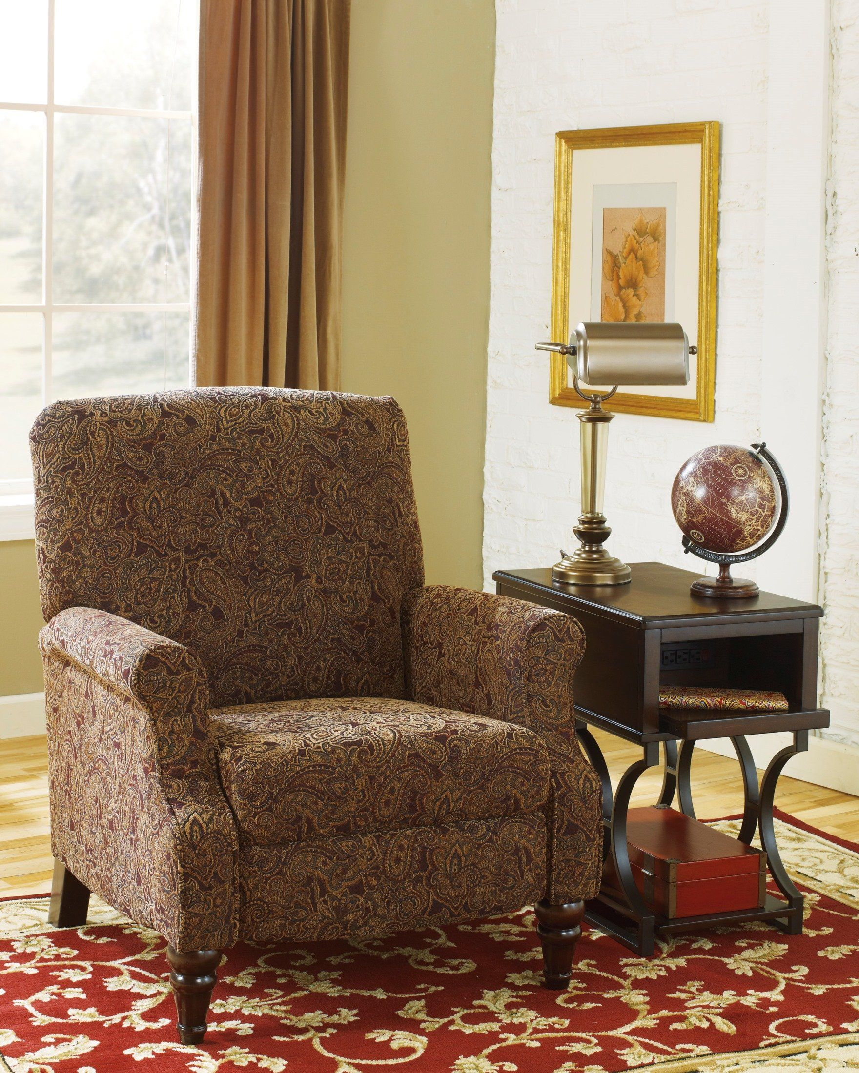 Ashley Placido Fabric High Leg Recliner in