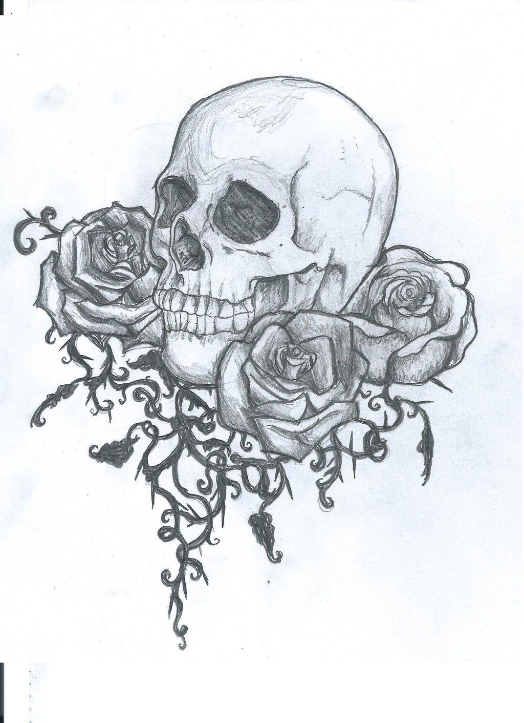 Skull And Roses Tattoo Design Skull Tattoo Flowers Skull Tattoo Skulls Drawing
