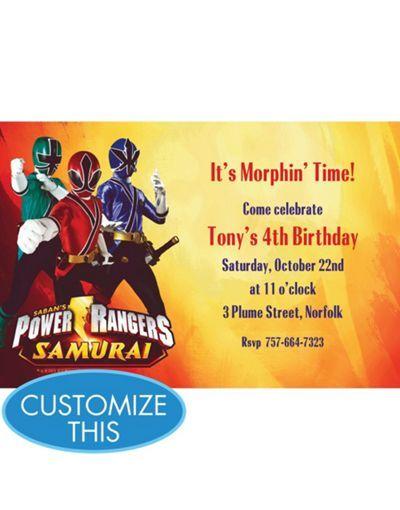 Power Rangers Custom Invitation Boys Birthday Invitations Party Supplies