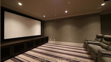 Media Room With Custom Hand Built Cabinets. Cabinet Doors Have Speaker Mesh  For Panels Allowing