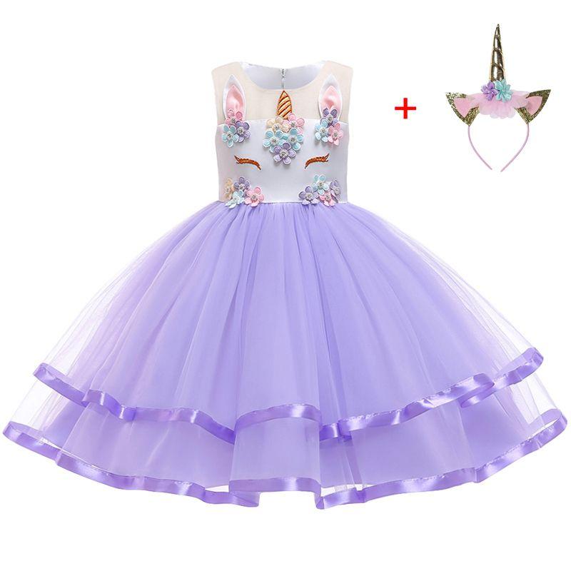 Baby Girls Princess Flower Unicorn Tutu Dress Multi Layers Ruffle Fancy Costume
