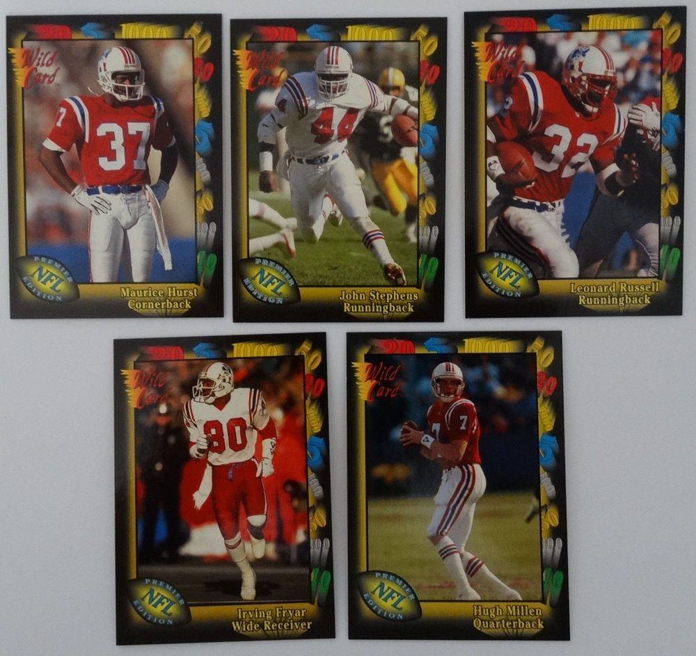 1991 Wild Card New England Patriots Team Set of 5 Football Cards #DallasCowboys