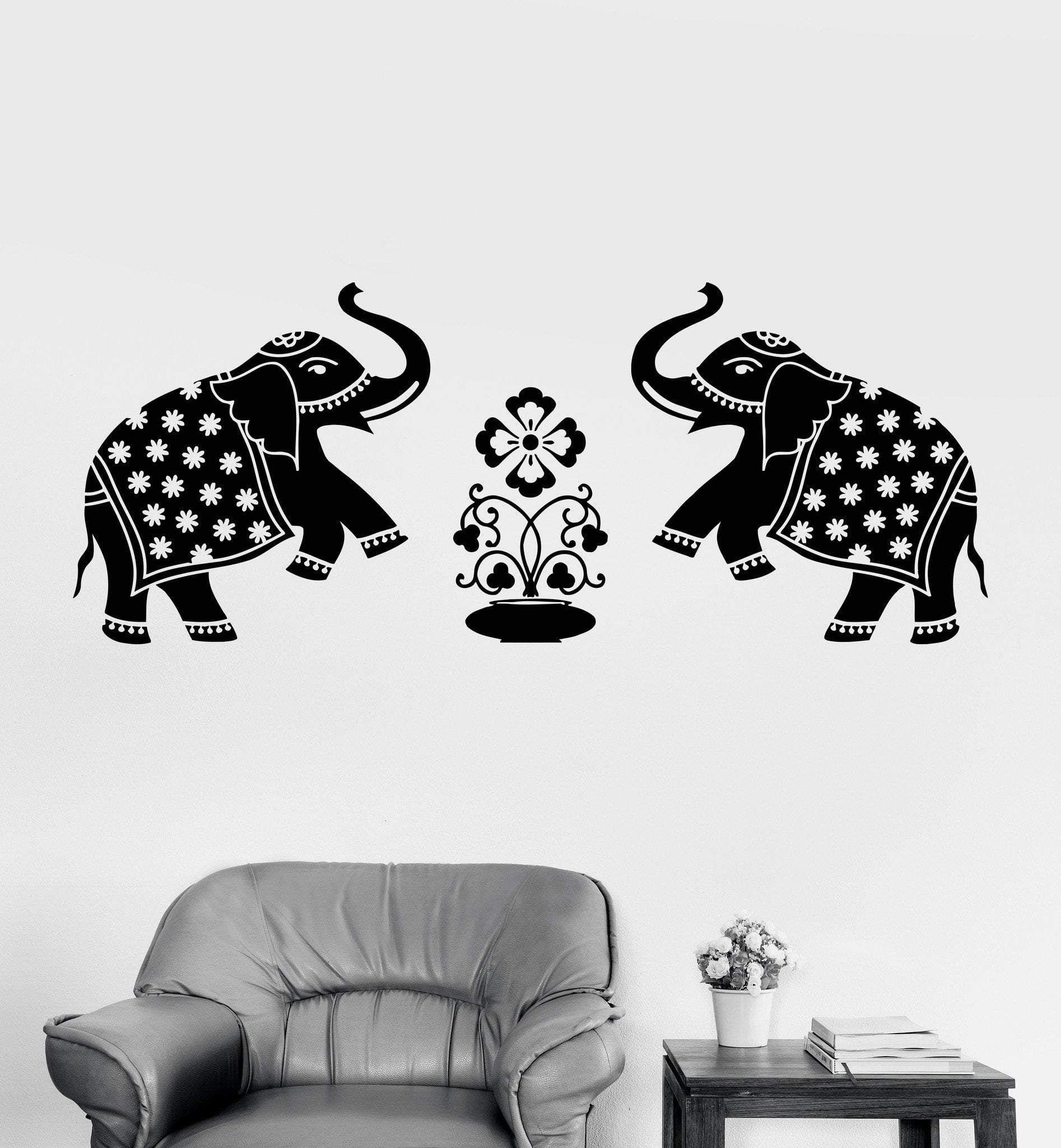 Vinyl Wall Decal Elephants India Animals Home Decoration Art