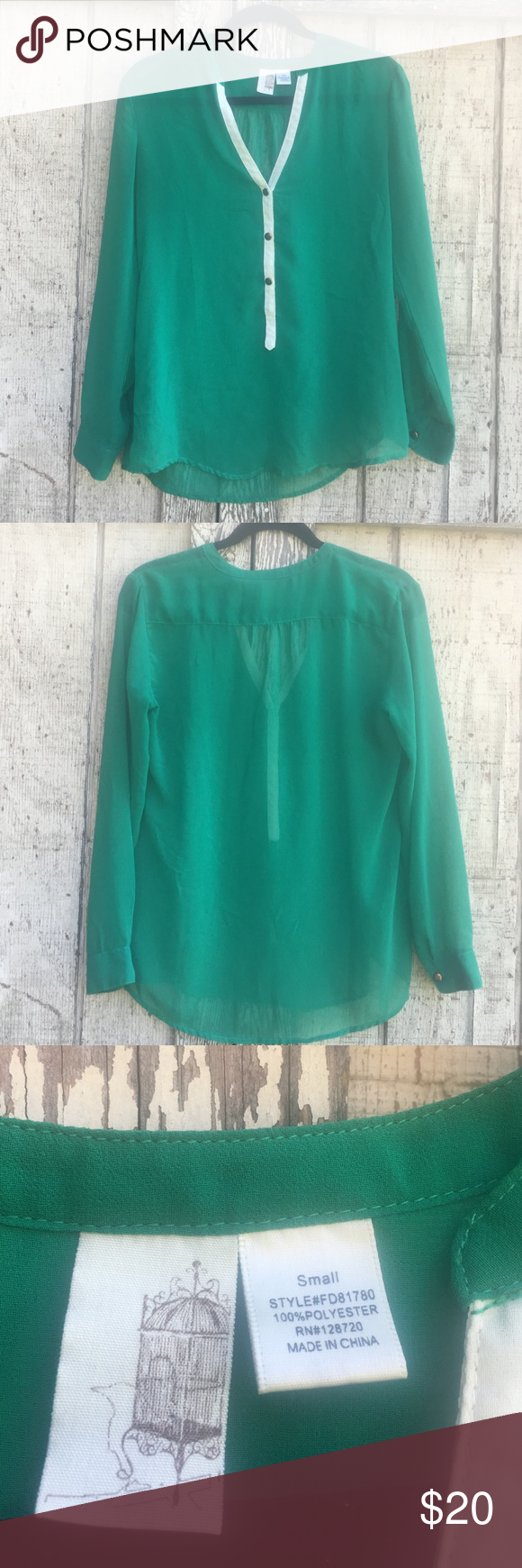 Sheer Green Long Sleeve Top This sheer green long sleeve top is perfect for fall!  Very minimal wear, no visible imperfections.  Very loose fit, looks great with boots and leggings.  100% Polyester Francesca's Collections Tops Blouses