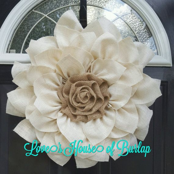 This cream and natural burlap is a perfect year round wreath! Flower ...